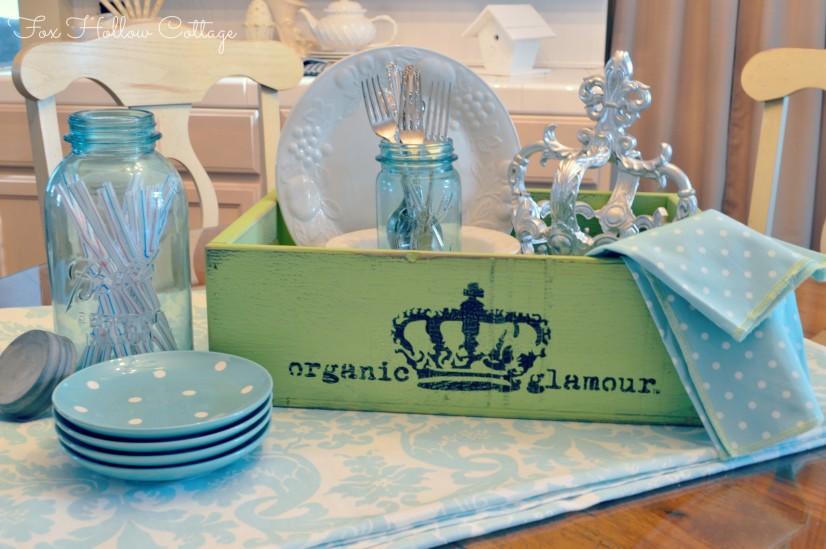Glitterfarm Organic Glamour Shabby Display Vintage Aqua Ball Mason Jar