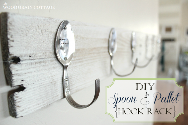 "DIY ""faux"" Stamped Spoon Hooks Pallet Wood Wall Rack"