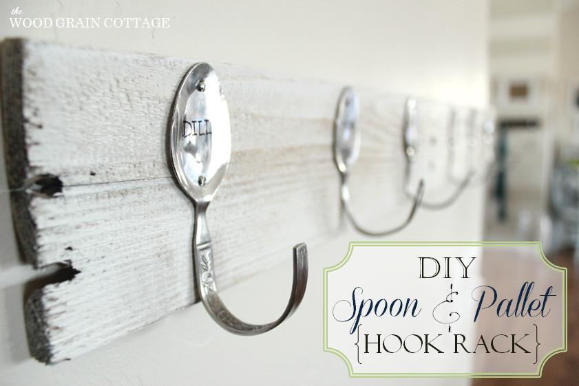 diy pallet wall rack hook stamped spoons