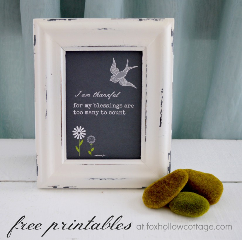 free blessings thankful chalkboard printable