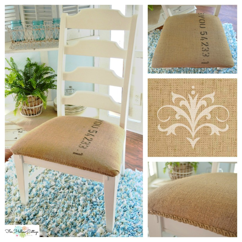 Coffee Sack Repurpose: diy upholstery chair makeover project tutorial.