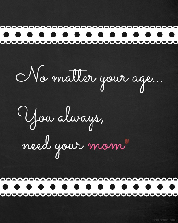 You always need your mom - 8 x 10 chalk board printable from Fox Hollow Cottage
