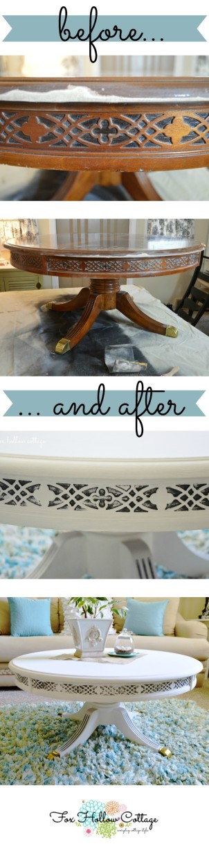 Before and after $5 painted table makeover - duncan phyfe - maison blanche paint