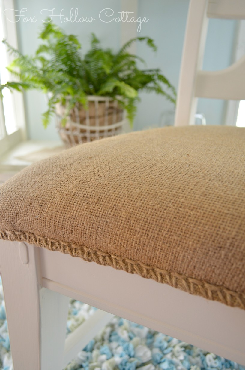 Coffee Bag Sack Seam As Embellished Trim Accent | #Upholstery #diy #upcylce
