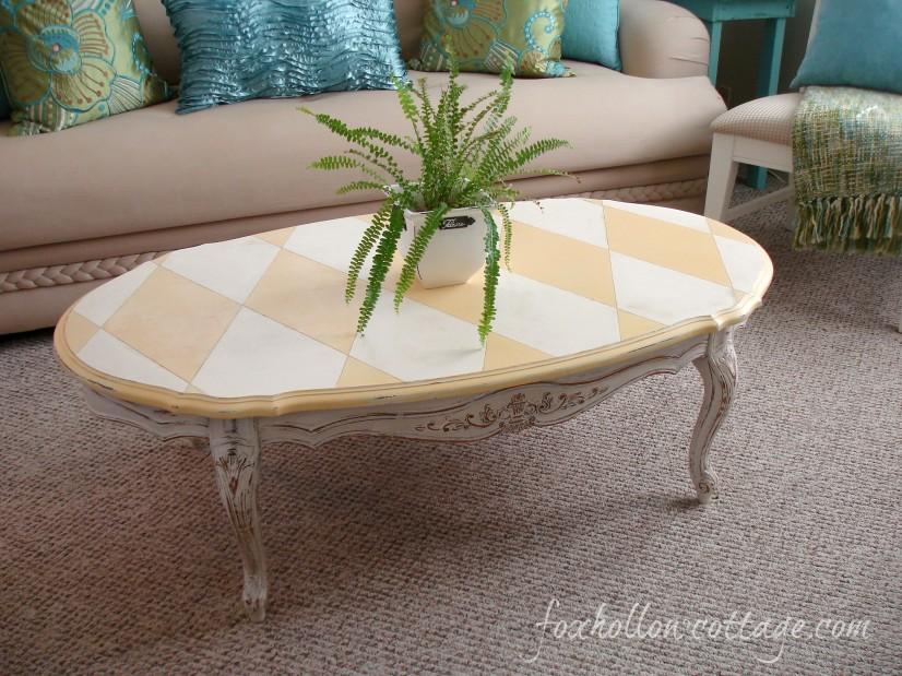 Harlequin table makeover La Craie Paint Magnolia & Miel foxhollowcottage.com