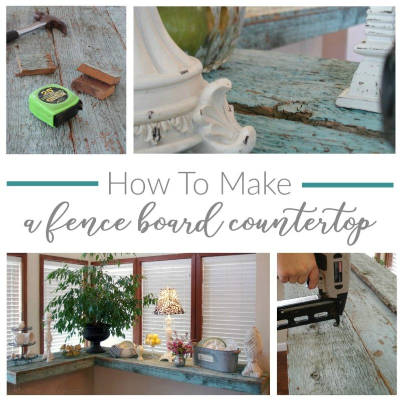 How To Make a Wood Fence Board Countertop - Laminate Counter Cover Up - foxhollowcottage.com DIY Tutorial