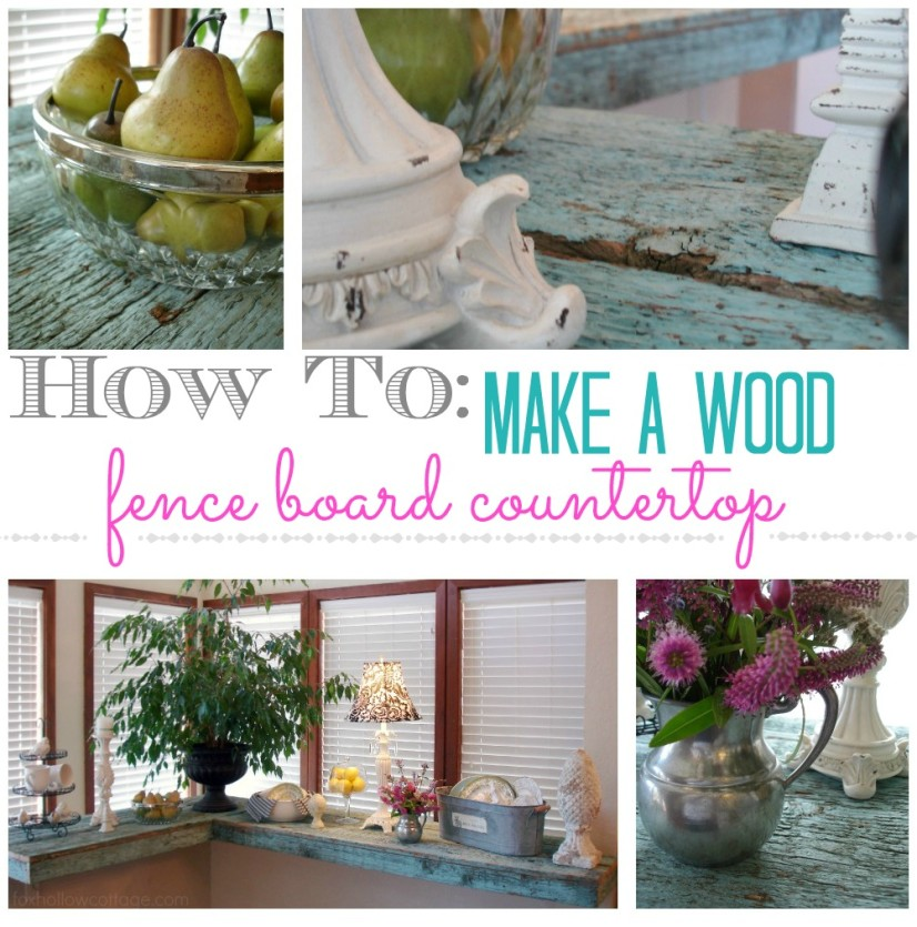 How to make a wood fence board countertop diy tutorial collage 2