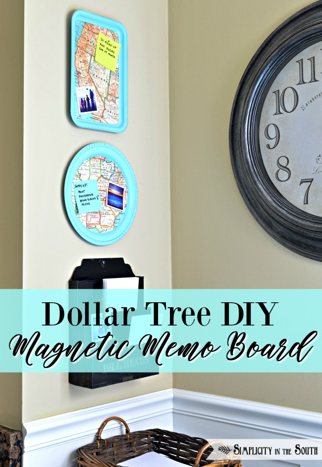 How To Make a DIY Dollar Tree Magnetic Map Memo Board Tray - Home Decor Organization Craft Tutorial