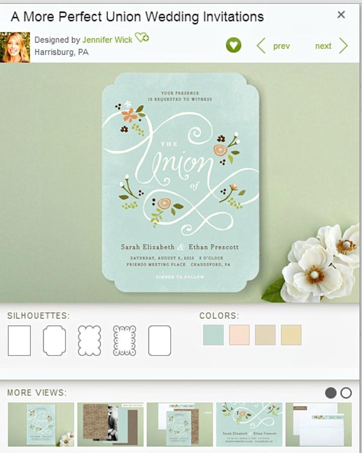 Minted Wedding Invitation example