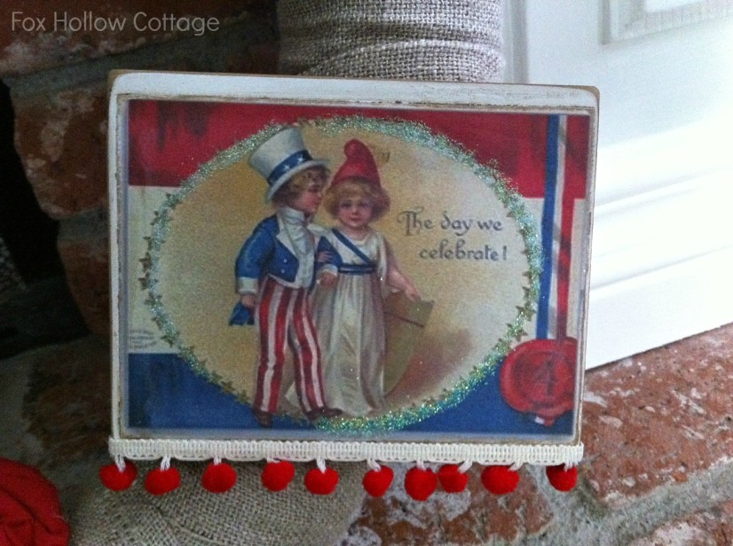 Mod Podge Patriotic Image with Ball Fringe