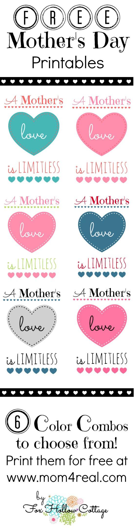 free mother u0027s day printable 6 color options mom 4 real