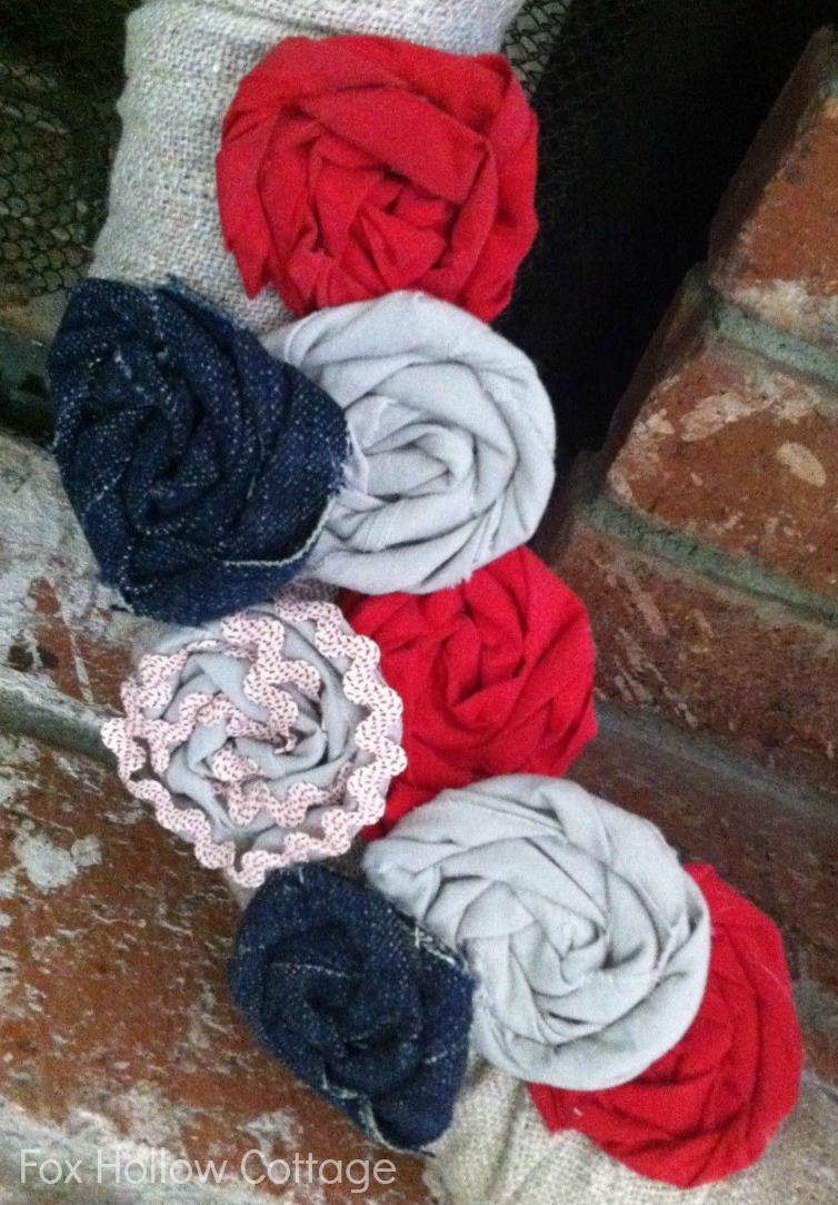 Rolled Fabric Flowers Red White Linen Blue Patriotic Wreath