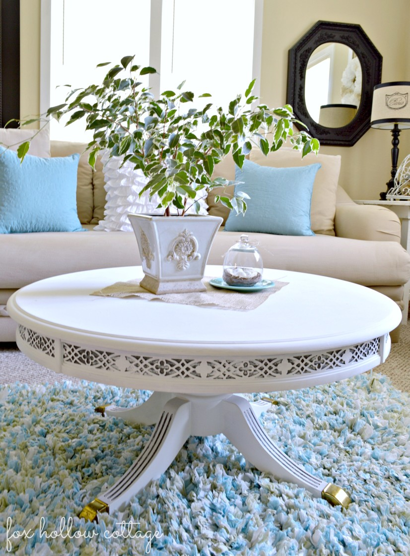 white and grey table makeover
