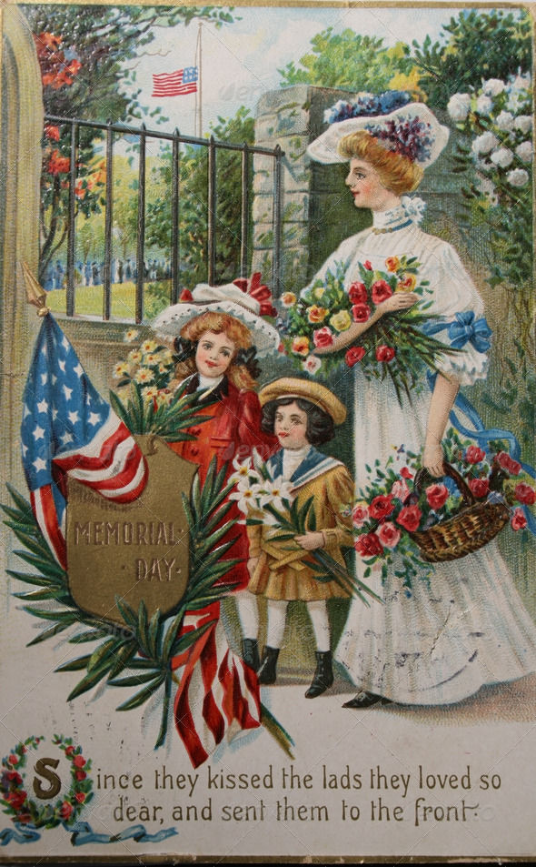 memorial day vintage image widow and children