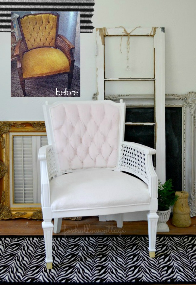 How To Paint Fabric. Velvet Upholstery Painted Chair Makeover - Maison Blanche Chalk Style Vintage Furniture Paint Before and After Project Tutorial