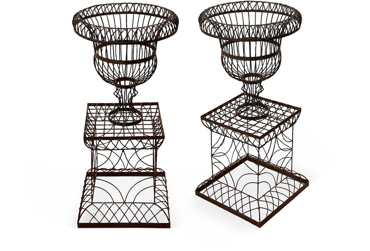 Metal Wire Garden Urn with Pedestal One Kings Lane