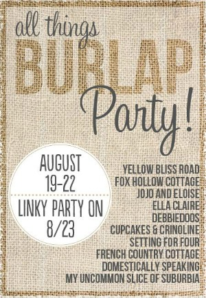 Burlap Party Button 300
