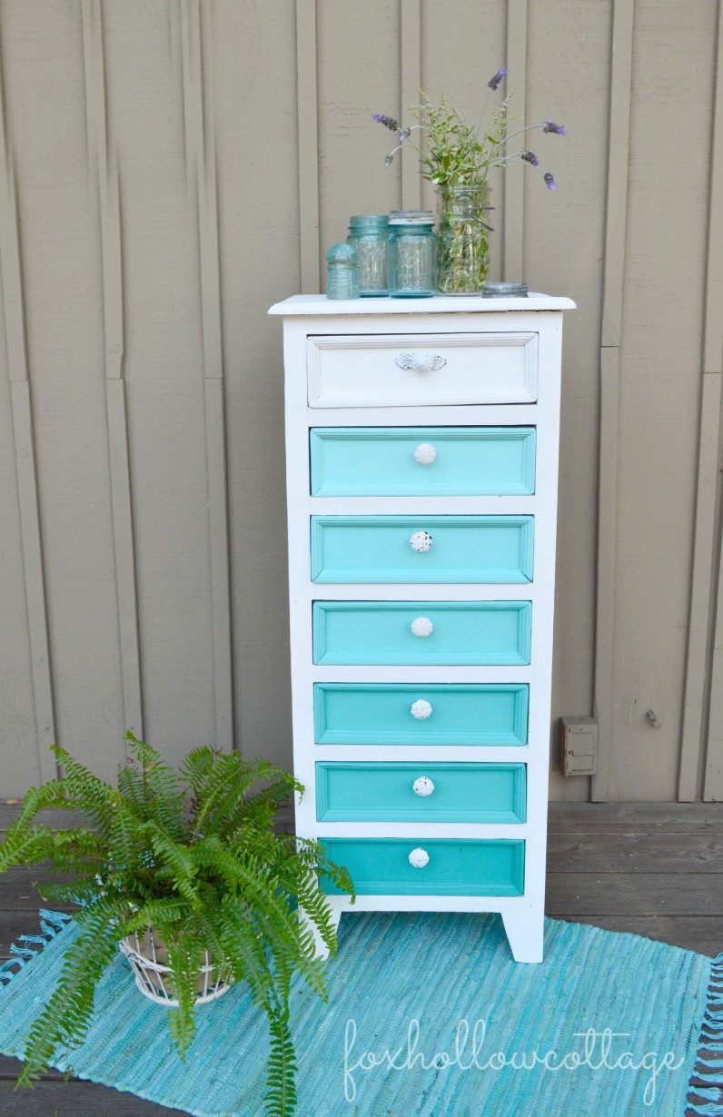 Maison Blanche Vintage Furniture Paint White Aqua Ombre Painted Makeover before and after