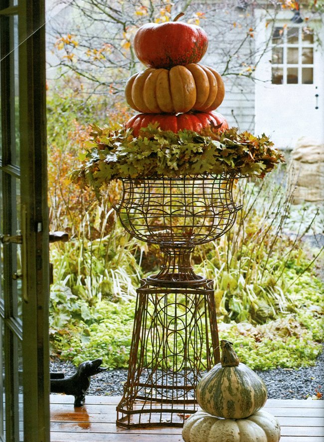 Fall Decorated Wire Urn with Pedastal