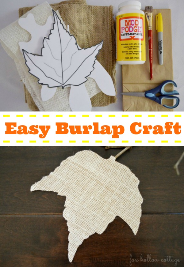 Easy #Burlap Craft - #Fall #Leaf Tree #Leaves