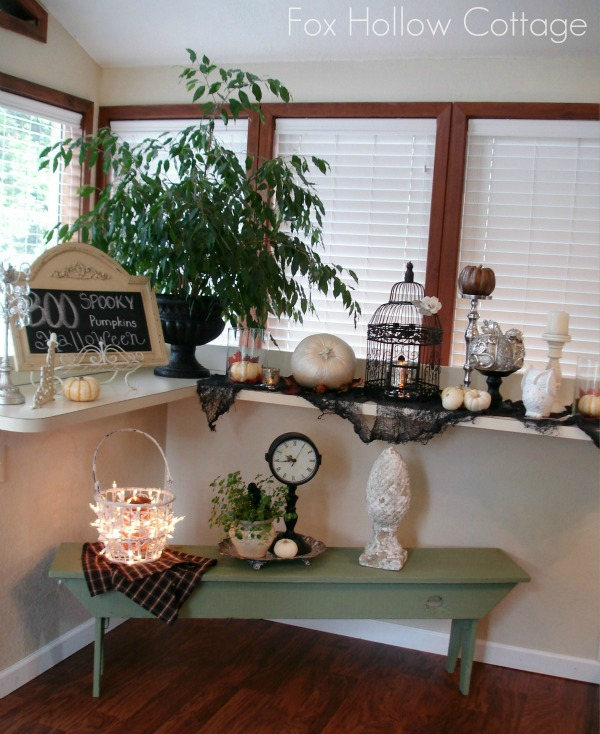Fall Halloween decor sun room bar foxhollowcottage.com 600x