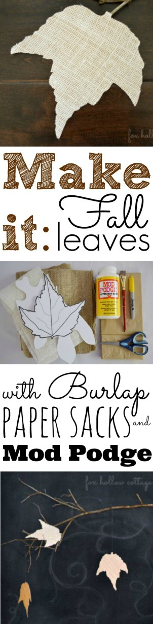 Fall Leaf Leaves Burlap and Paper Sack DIY Craft Tutorial