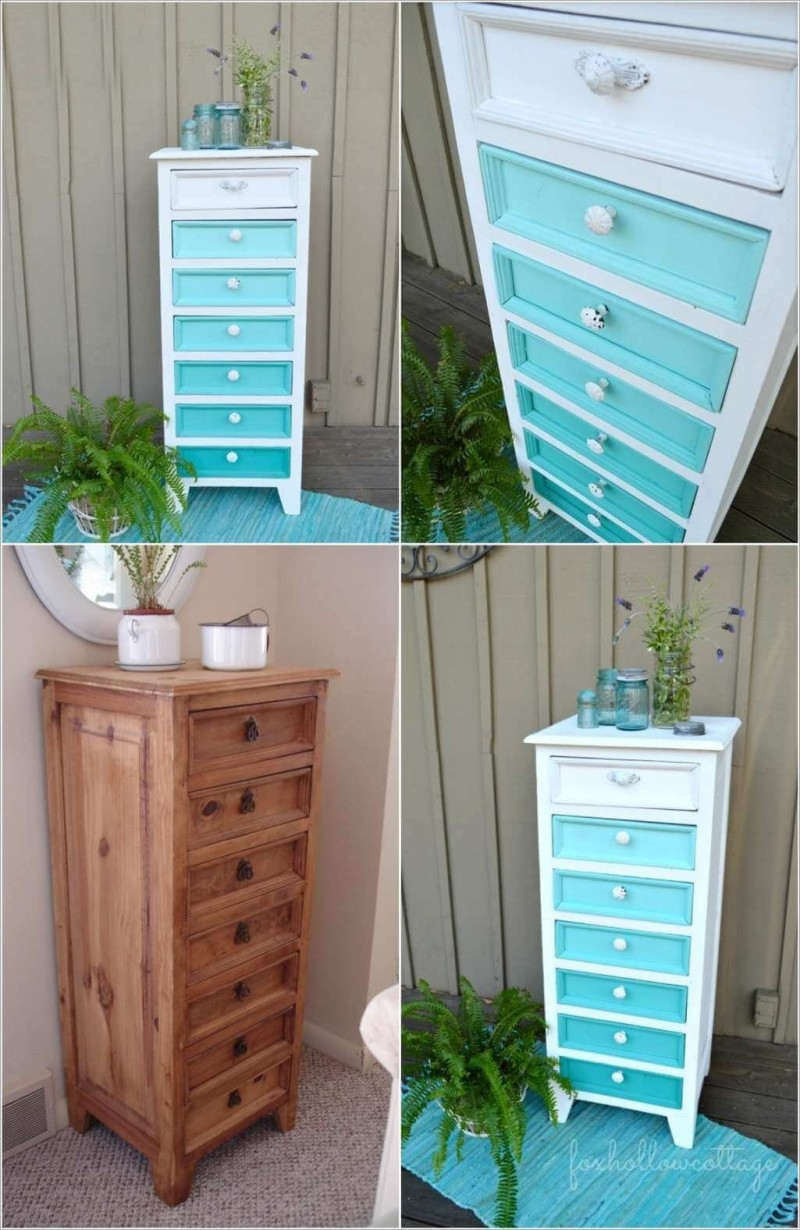 Fox Hollow Cottage Aqua Ombre Painted Furniture Makeover