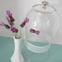Glass Cloche from Vase Martha Stewart Plaid Glass Paint foxhollowcottage.com