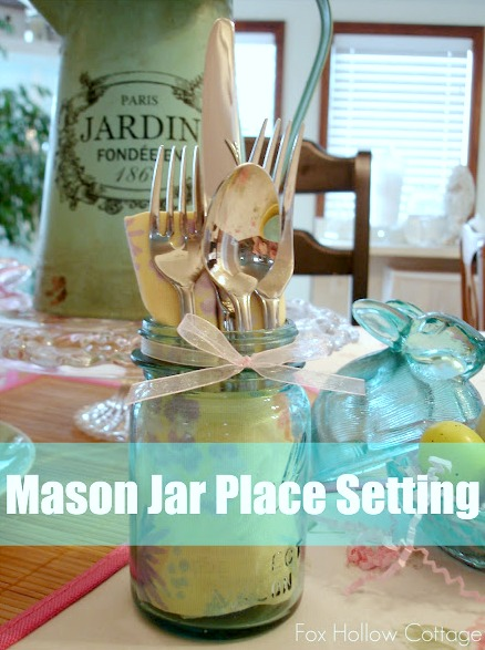 Aqua Blue Vintage Ball Mason Jar Place Setting