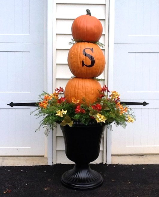 Monogramed Pumpkin Topiary in Black Urn