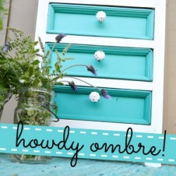 Aqua Ombre Painted Furniture Makeover