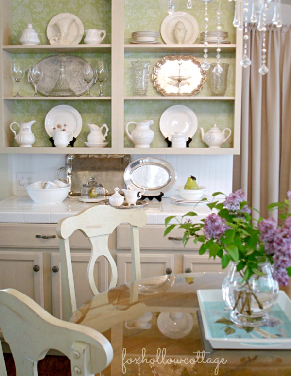 Open Kitchen Cabinets - Cottage Chic Shabby White DIY Project