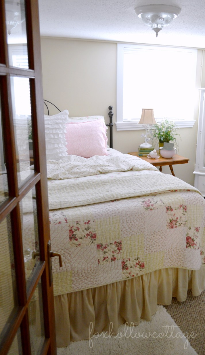 Shabby Cottage Bedroom with Thrifted Vintage Touches--  #cottage #bedroom