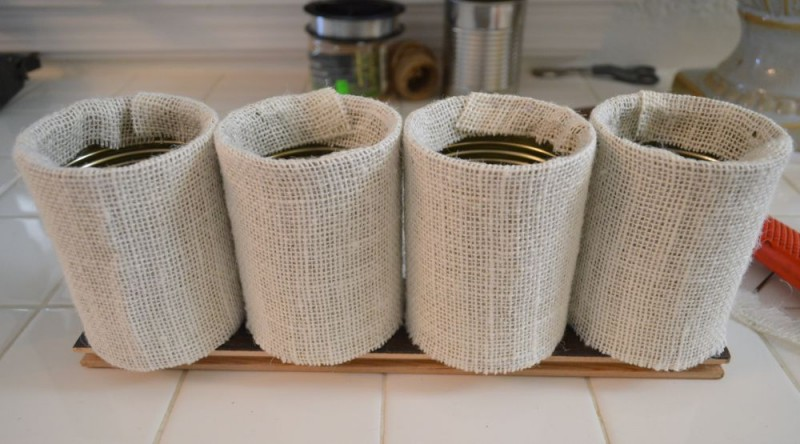 Burlap Covered Tin Can Craft - Make a Fall Garland - DIY home decor decorating ideas at foxhollowcottage.com