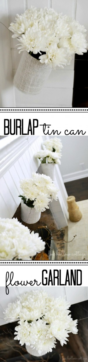 Burlap Tin Can Flower Garland DIY Craft