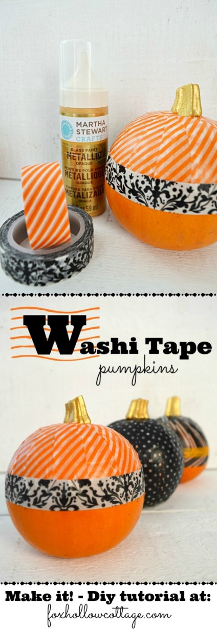 Diy Washi tape pumpkin decorating tutorial