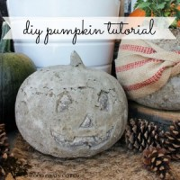 Make a concrete pumpkin halloween fall craft