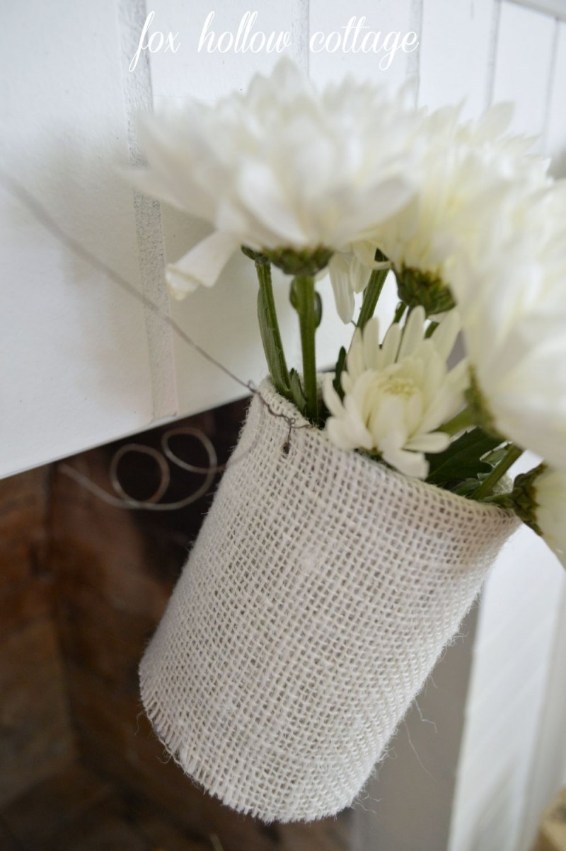 Wire Burlap Tin Can Garland Home Decor Decorating Craft Fall Flower Tutorial foxhollowcottage.com