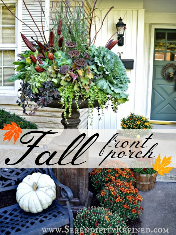 Fall Front Porch Autumn Urn Decorating