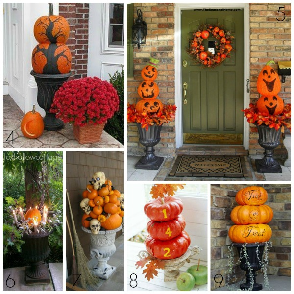 halloween decorating ideas porch pumpkin urn - Halloween Decorations Pumpkins