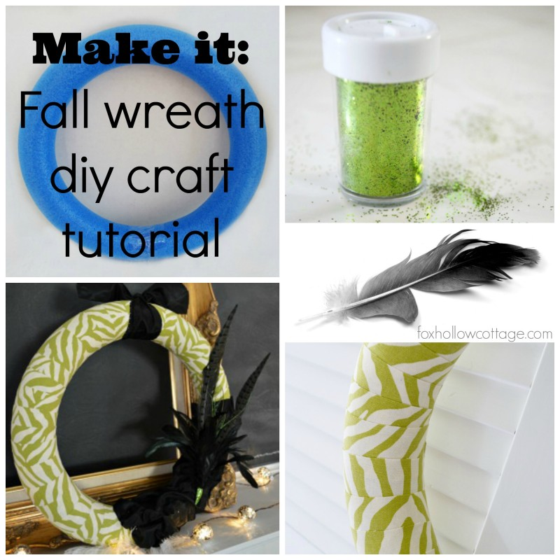 Make it - Fall diy wreath craft tutorial - Lime green zebra print fabric wrapped wreath - fall/autumn home decor
