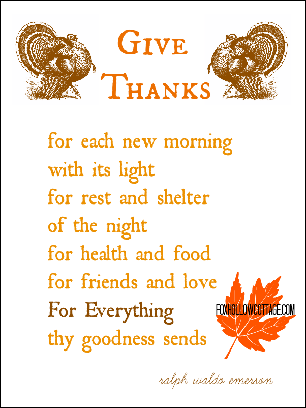 Thanksgiving Printable Give Thanks Ralph Waldo Emerson Poem foxhollowcottage.com