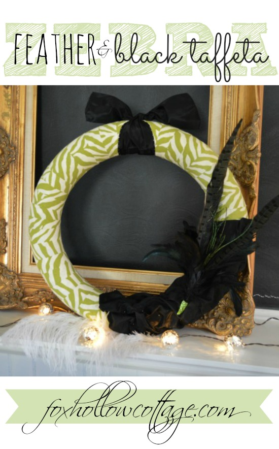 Zebra Feather and Black Taffeta DIY Wreath Craft foxhollowcotttage.com
