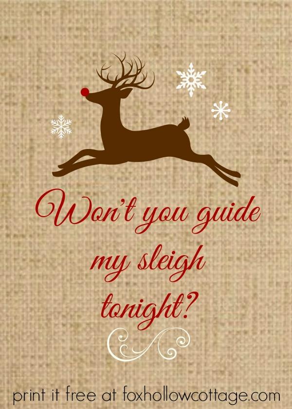 Christmas Printable Rudolph on Burlap 5 X 7