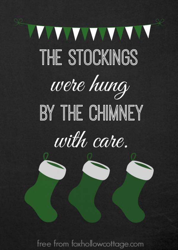 Christmas Stocking Printable Green foxhollowcottage