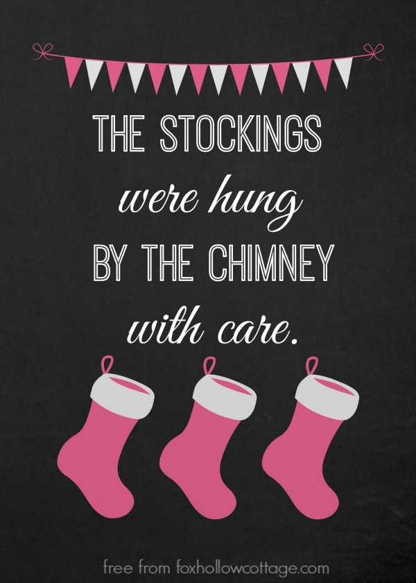 Christmas Stocking Printable Pink foxhollowcottage