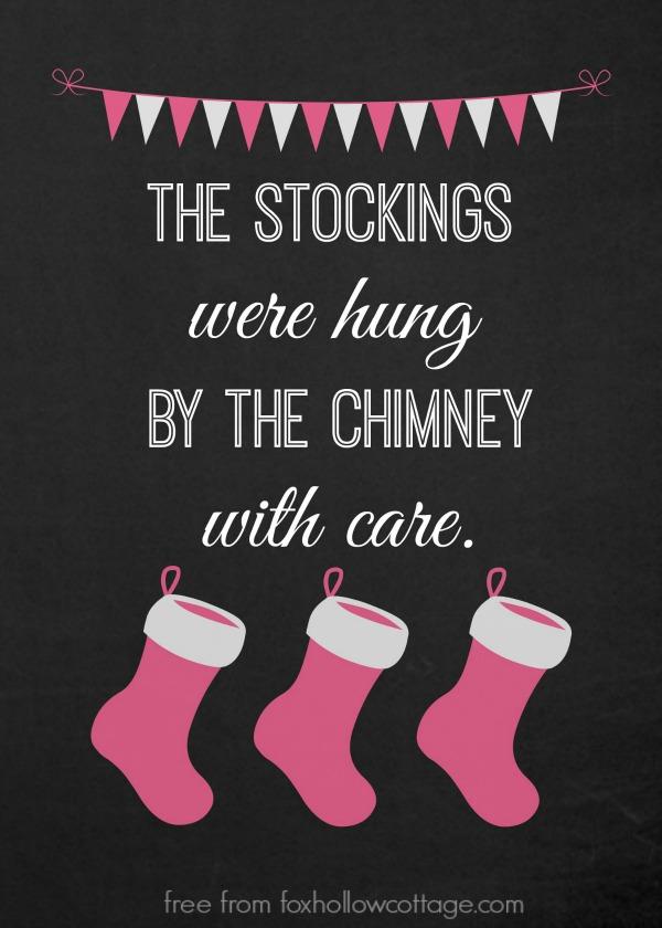 Christmas Stocking Printable Pink foxhollowcottage