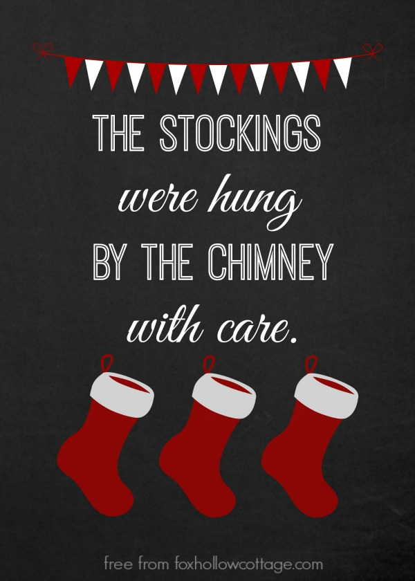 Christmas Stocking Printable Red foxhollowocottage