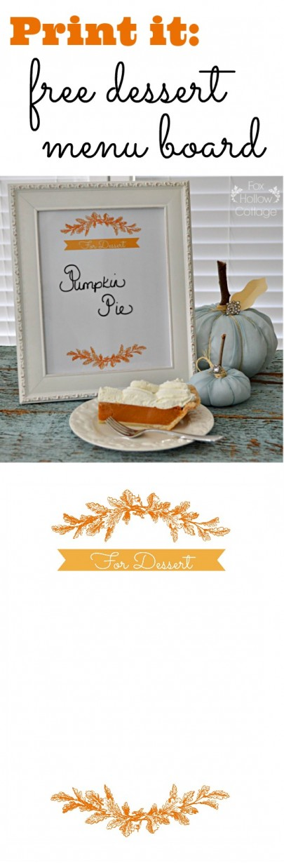 Dessert Menu Board - Print. Frame. Write on glass with dry erase marker.