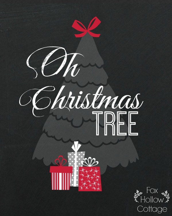 Christmas Printable - Oh Christmas Tree - Red 8 x 10 | #Christmas #Chalkboard #Printable